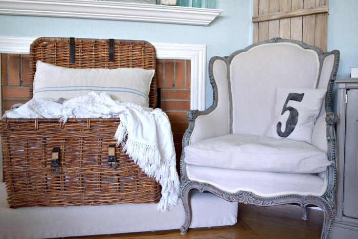 DIY Reupholster Drop Cloth Chair
