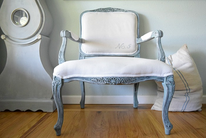 momtique reupholster with drop cloth french chair