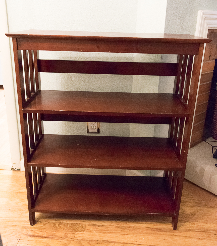 Before Picture of my Thrifty Thursday Bookcase
