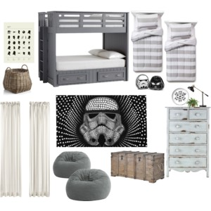 Momtique Mood Board of Boys Star Wars room